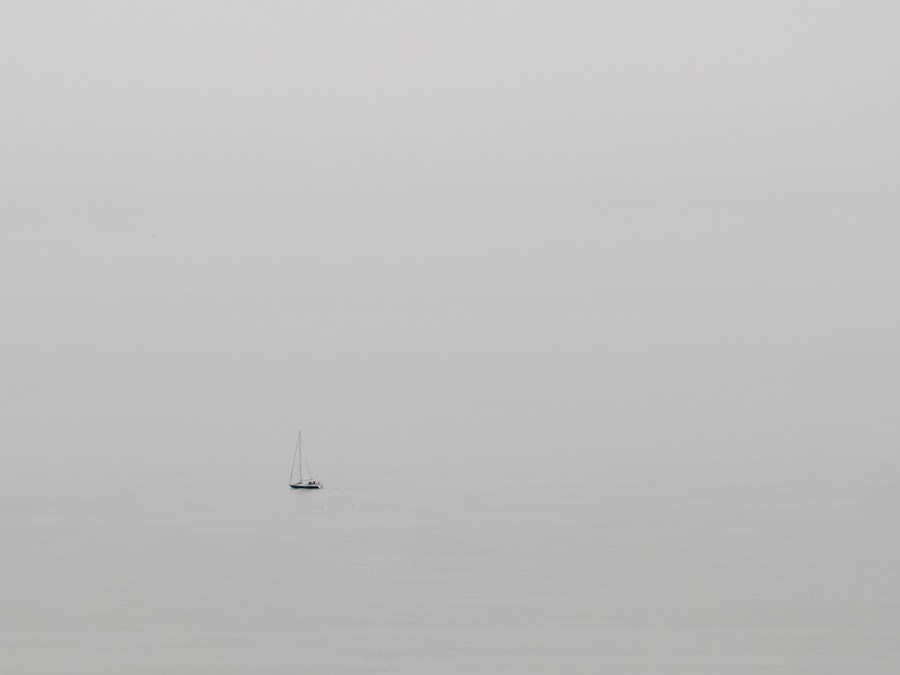 Sail boat on the sea off the coast of Kent